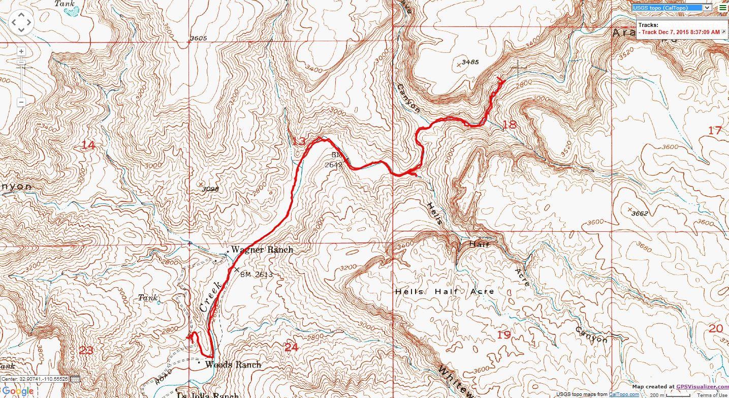 Maps For The Aravaipa Canyon West Hike - Us topo maps for google earth
